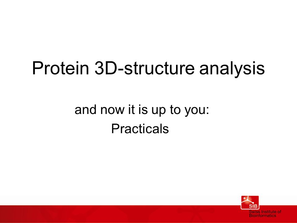 Protein 3D-structure analysis and now it is up to you: Practicals