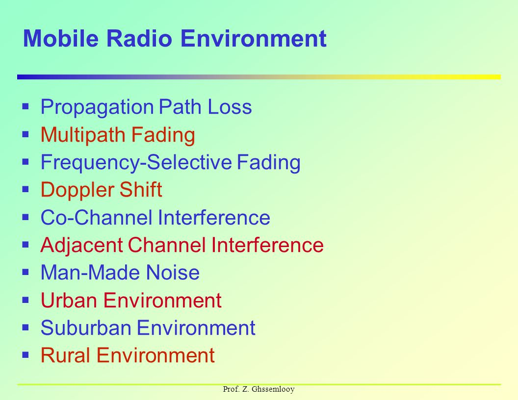 Prof. Z. Ghssemlooy Mobile Radio Environment  Propagation Path Loss  Multipath Fading  Frequency-Selective Fading  Doppler Shift  Co-Channel Inte