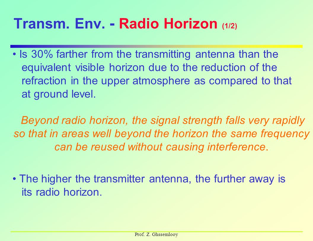 Prof. Z. Ghssemlooy Transm. Env. - Radio Horizon (1/2) Is 30% farther from the transmitting antenna than the equivalent visible horizon due to the red