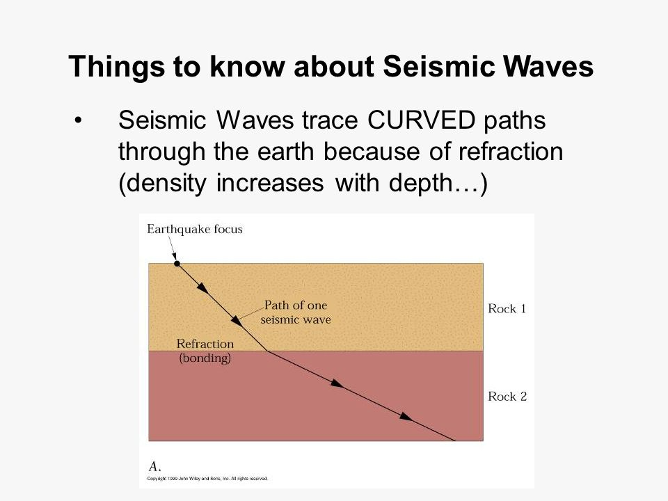 Things to know about Seismic Waves Seismic Waves trace CURVED paths through the earth because of refraction (density increases with depth…)