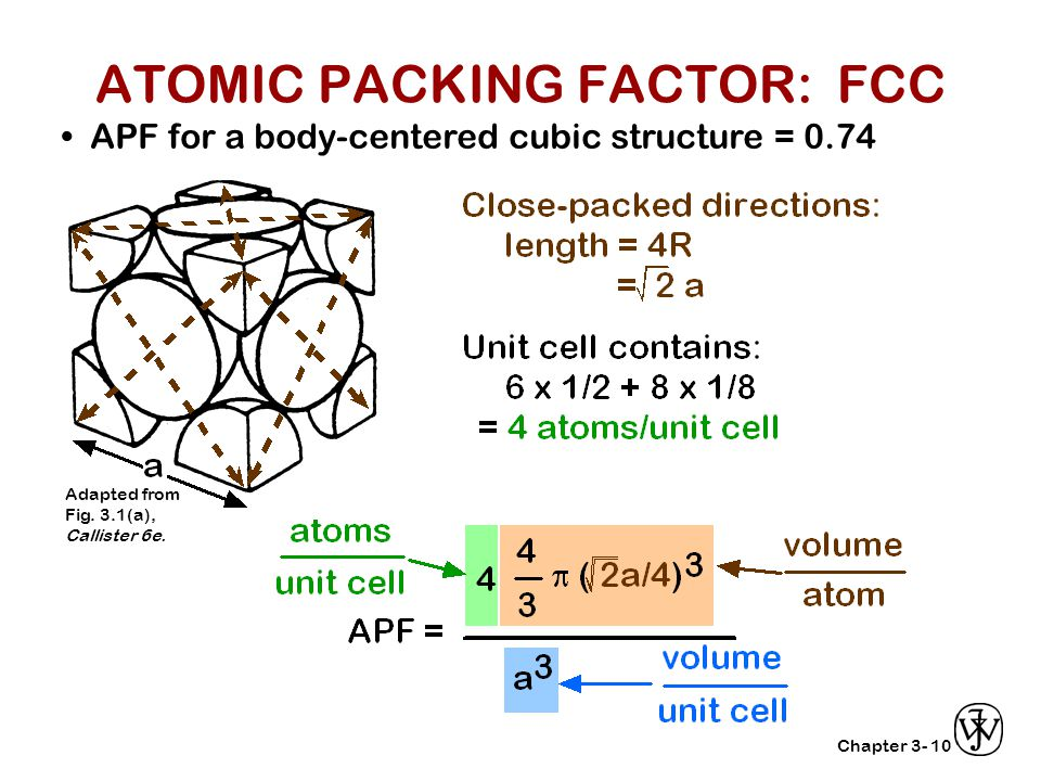 Chapter 3-10 APF for a body-centered cubic structure = 0.74 Adapted from Fig. 3.1(a), Callister 6e. ATOMIC PACKING FACTOR: FCC