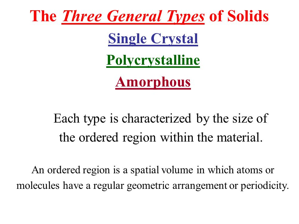 Crystalline Solids A Crystalline Solid is the solid form of a substance in which the atoms or molecules are arranged in a definite, repeating pattern in three dimensions.