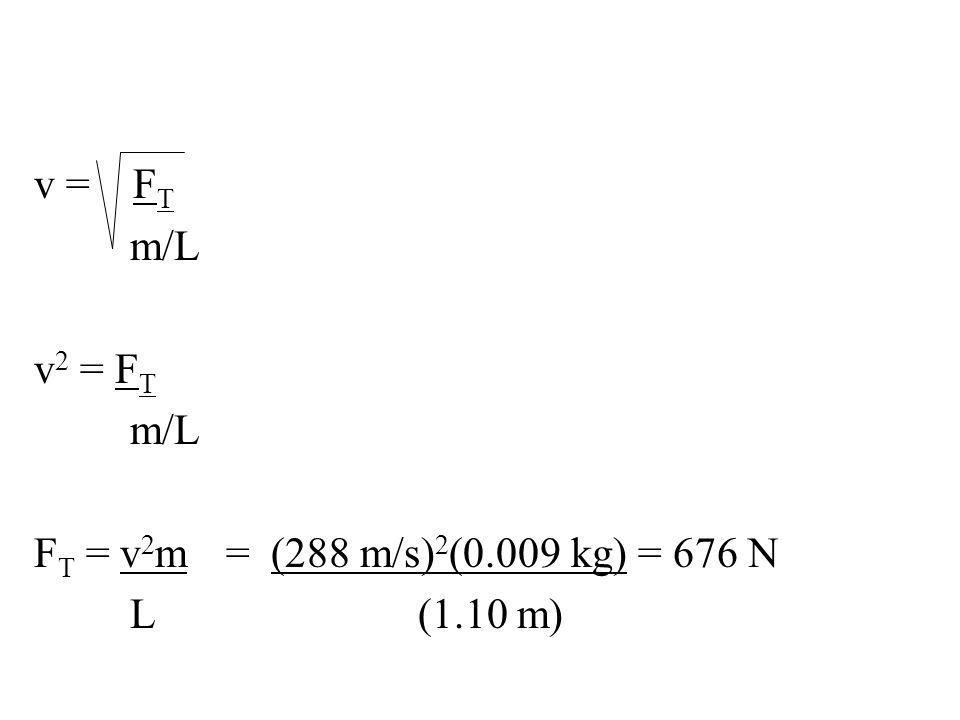 v = F T m/L v 2 = F T m/L F T = v 2 m= (288 m/s) 2 (0.009 kg) = 676 N L(1.10 m)