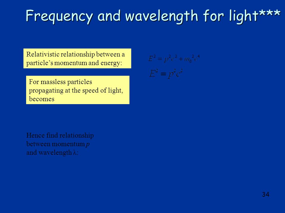 34 Frequency and wavelength for light*** Relativistic relationship between a particle's momentum and energy: For massless particles propagating at the speed of light, becomes Hence find relationship between momentum p and wavelength λ: