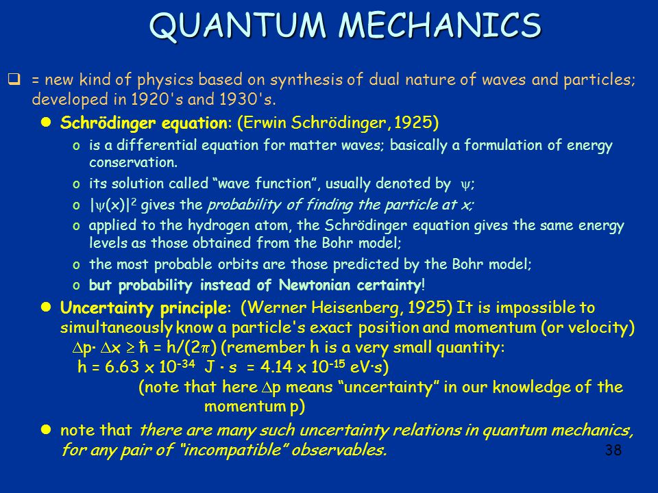 38 QUANTUM MECHANICS  = new kind of physics based on synthesis of dual nature of waves and particles; developed in 1920 s and 1930 s.
