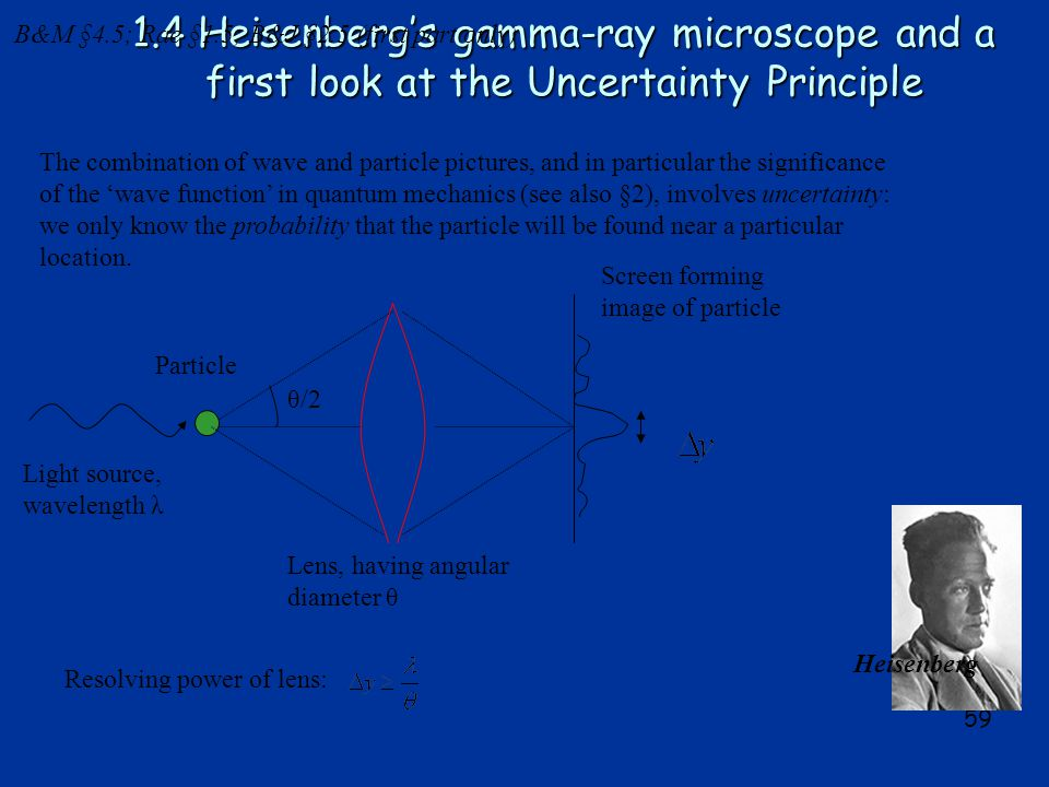 59 1.4 Heisenberg's gamma-ray microscope and a first look at the Uncertainty Principle The combination of wave and particle pictures, and in particular the significance of the 'wave function' in quantum mechanics (see also §2), involves uncertainty: we only know the probability that the particle will be found near a particular location.