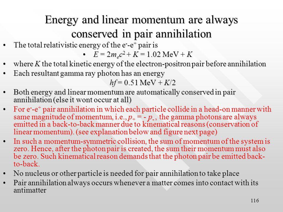 115 Initial energy = 2m e c 2 + K Final energy = hc /   hc/ 2 Conservation of relativistic energy: 2m e c 2 + K = hc /   hc/ 2