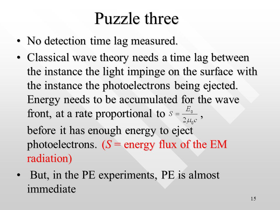 14 Puzzle two Existence of a characteristic cut-off frequency, 0.