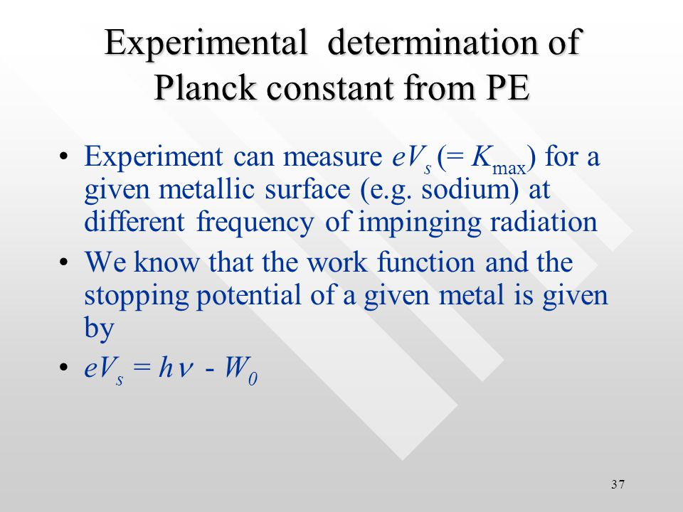 36 Compare the particle-particle collision model with the water- filling-tank model: Electron spills out from the tank when the water is filled up gradually after some 'time lag' Water (light wave) from the pipe fills up the tank at some constant rate