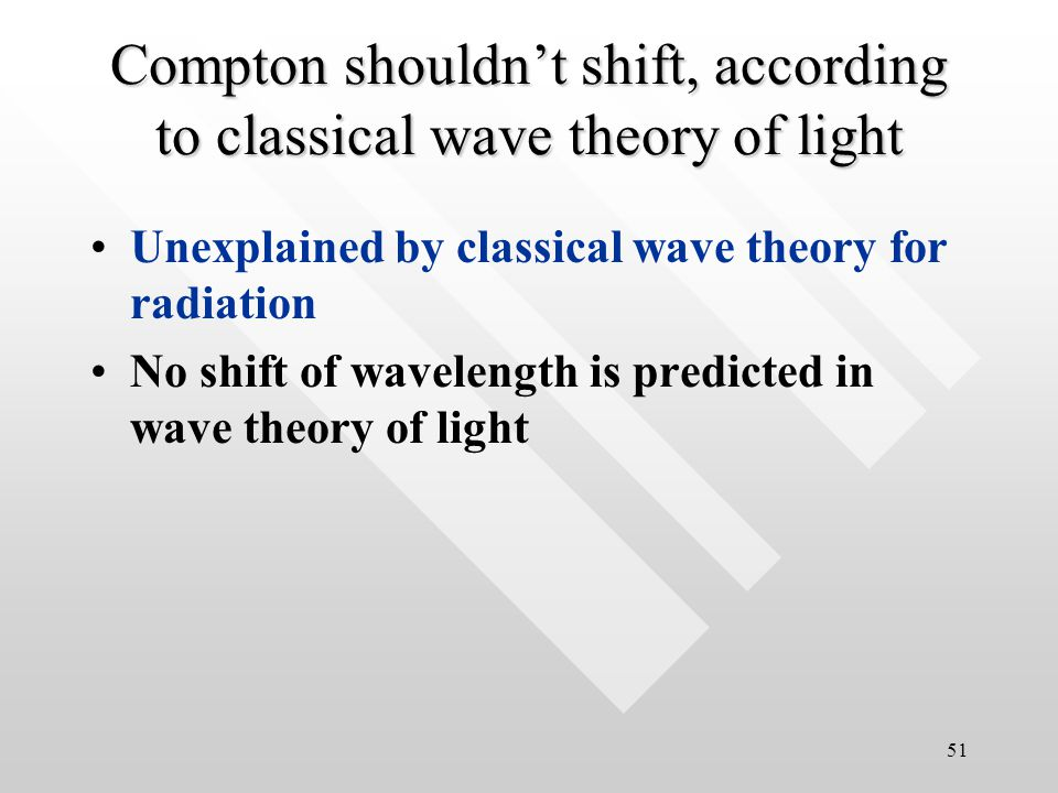50 Experimental data Although initially the incident beam consists of only a single well-defined wavelength ( ) the scattered x-rays at a given angle  have intensity peaks at two wavelength ( ' in addition), where '>      