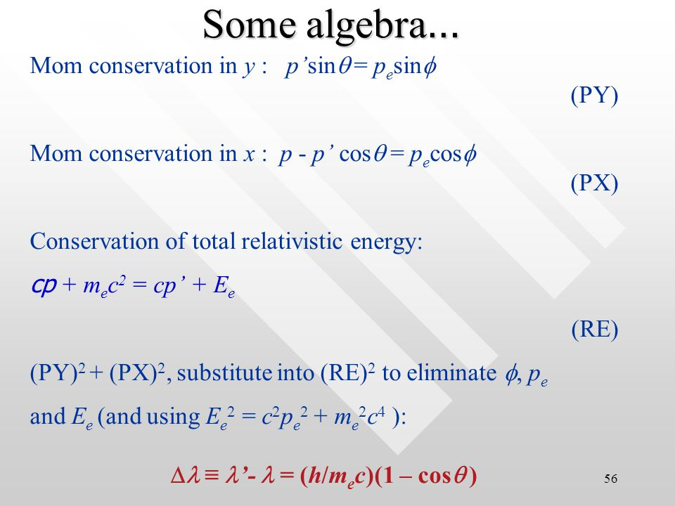 55 p = p ' + p e (vector sum) actually comprised of two equation for both conservation of momentum in x- and y- directionsp = p ' + p e (vector sum) actually comprised of two equation for both conservation of momentum in x- and y- directions p'sin  = p e sin  Conservation of l.mom in y- direction Conservation of l.mom in x-direction p = p'cos  + p e co s  Conservation of momentum in 2-D