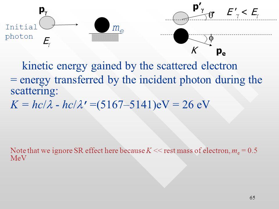 64 '=  + e (1 - cos  ) = 0.2400nm+0.00243nm(1–cos60 o ) = 0.2412 nm   ' = hc/ '  = 1240 eV  nm /0.2412 nm  = 5141 eV solution