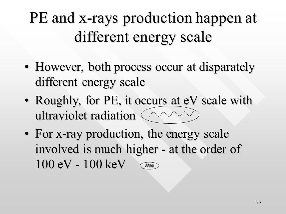 72 In photoelectricity, energy is transferred from photons to kinetic energy of electrons.