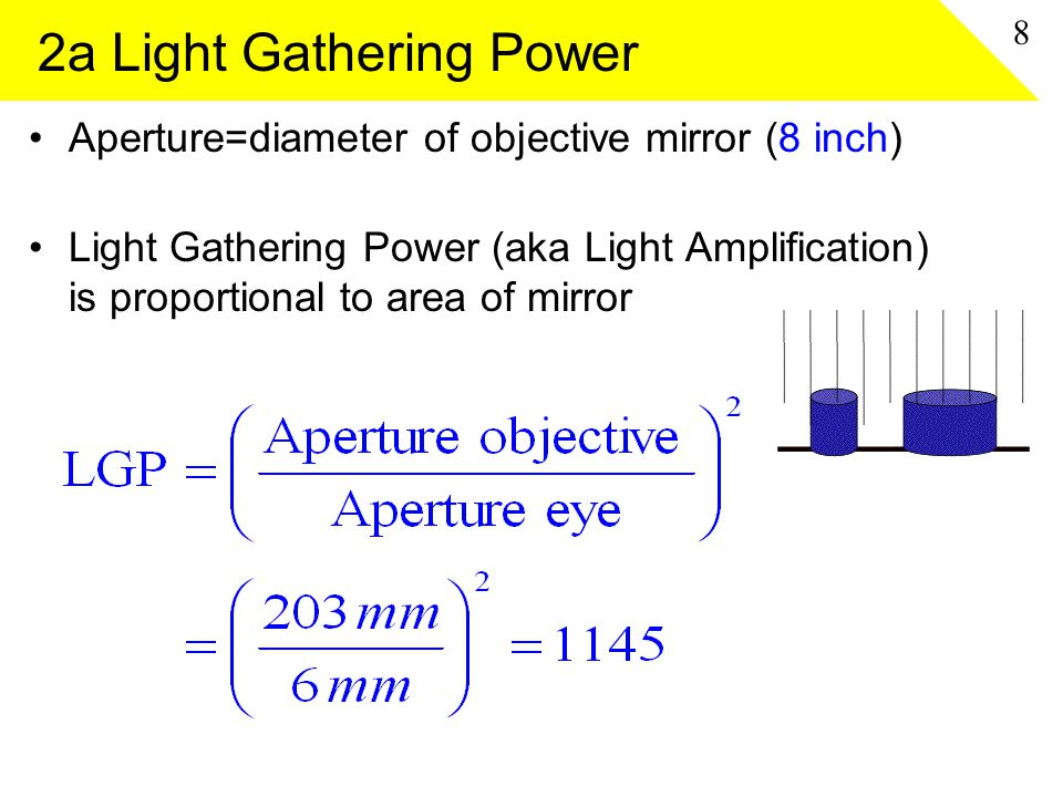 2a Light Gathering Power Aperture=diameter of objective mirror (8 inch) Light Gathering Power (aka Light Amplification) is proportional to area of mir
