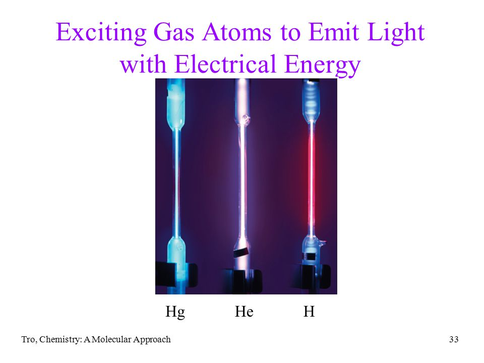 Tro, Chemistry: A Molecular Approach33 Exciting Gas Atoms to Emit Light with Electrical Energy HgHeH
