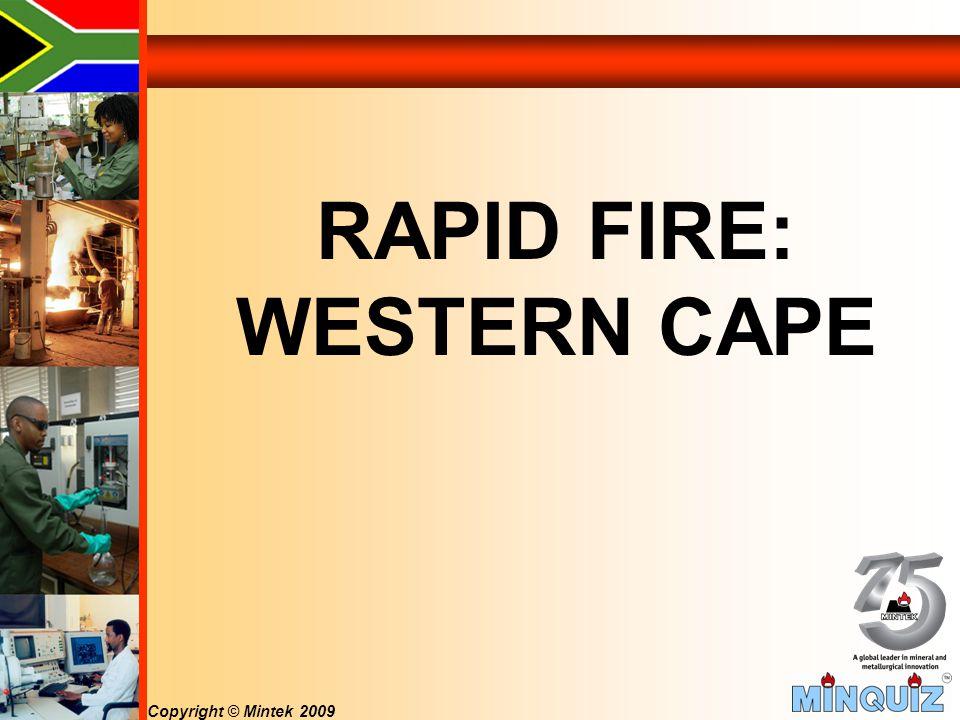 Copyright © Mintek 2009 RAPID FIRE: WESTERN CAPE