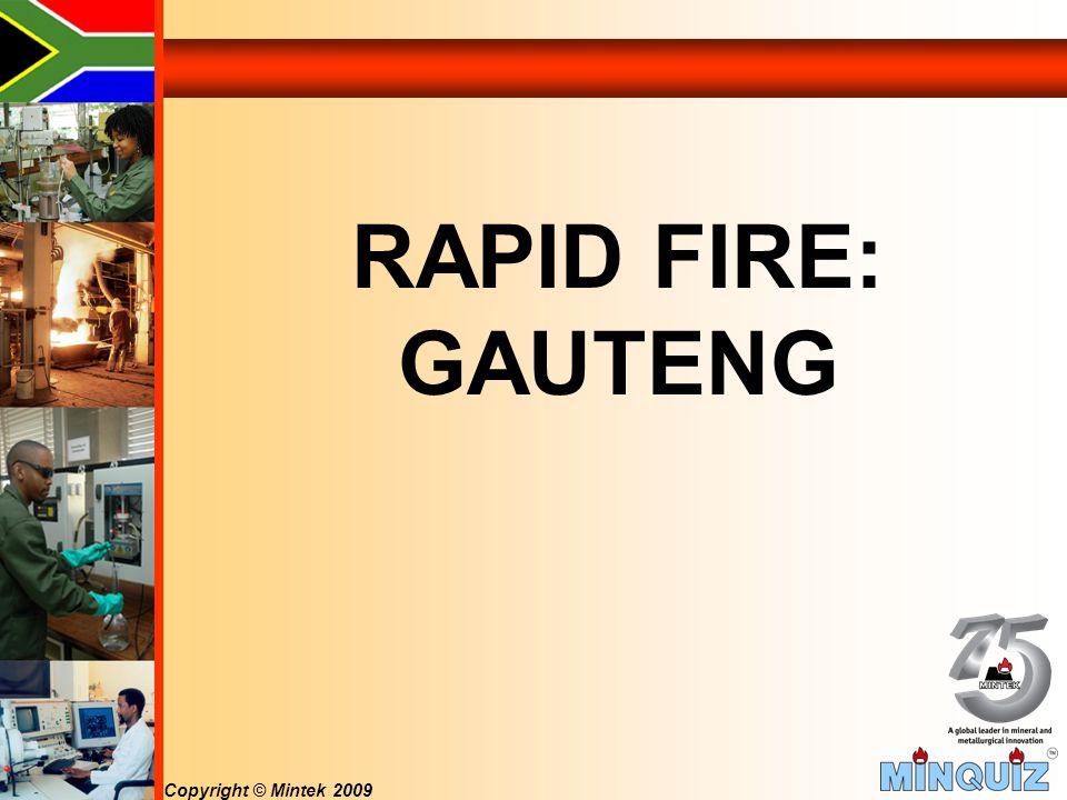 Copyright © Mintek 2009 RAPID FIRE: GAUTENG