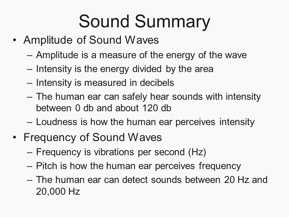 Sound Summary Amplitude of Sound Waves –Amplitude is a measure of the energy of the wave –Intensity is the energy divided by the area –Intensity is me