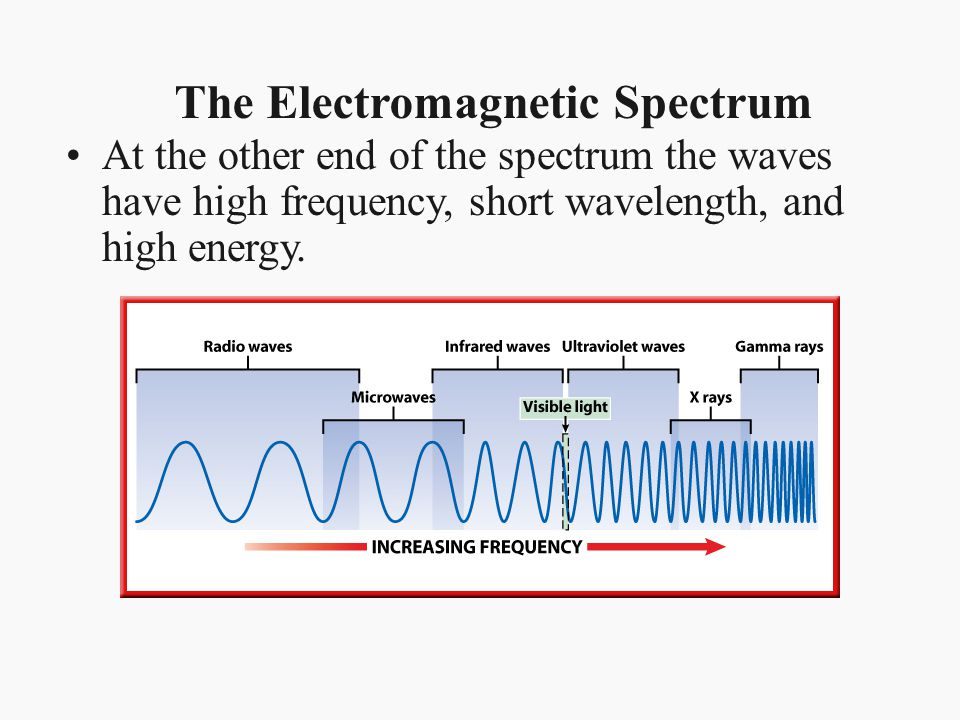 The Electromagnetic Spectrum At the other end of the spectrum the waves have high frequency, short wavelength, and high energy.