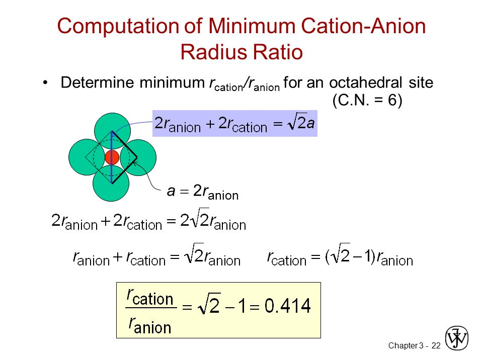 Chapter 3 -22 Computation of Minimum Cation-Anion Radius Ratio Determine minimum r cation /r anion for an octahedral site (C.N. = 6) a  2r anion