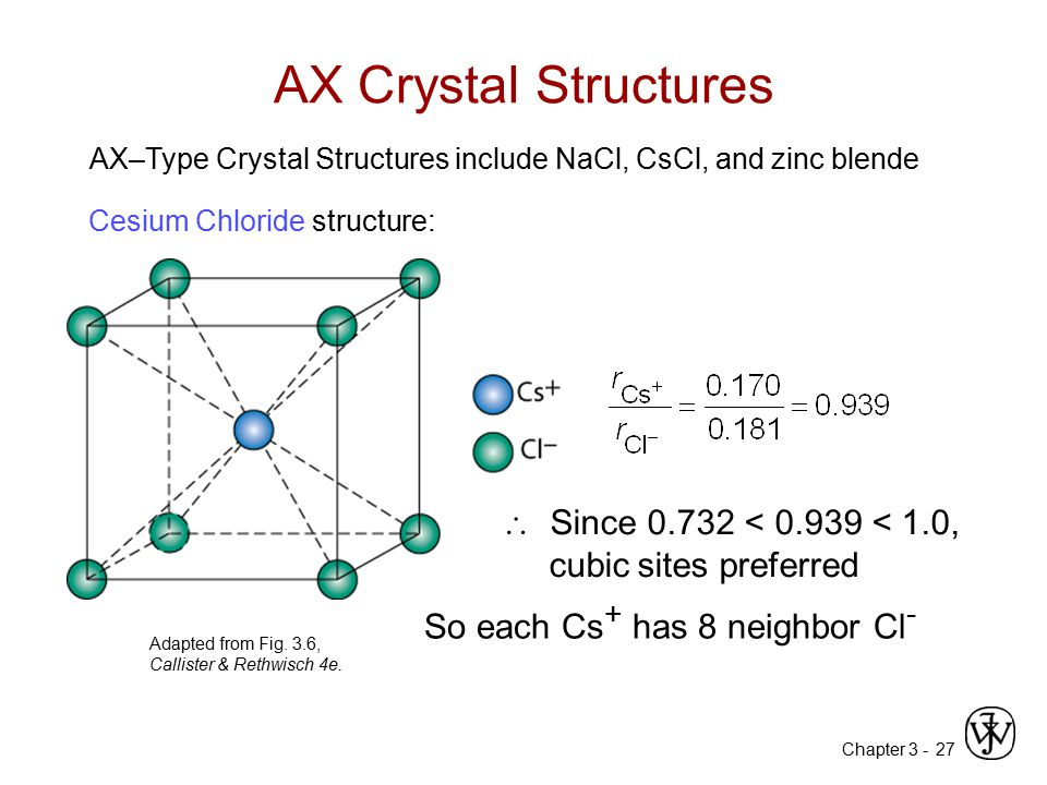 Chapter 3 -27 AX Crystal Structures Adapted from Fig. 3.6, Callister & Rethwisch 4e. Cesium Chloride structure:  Since 0.732 < 0.939 < 1.0, cubic sit