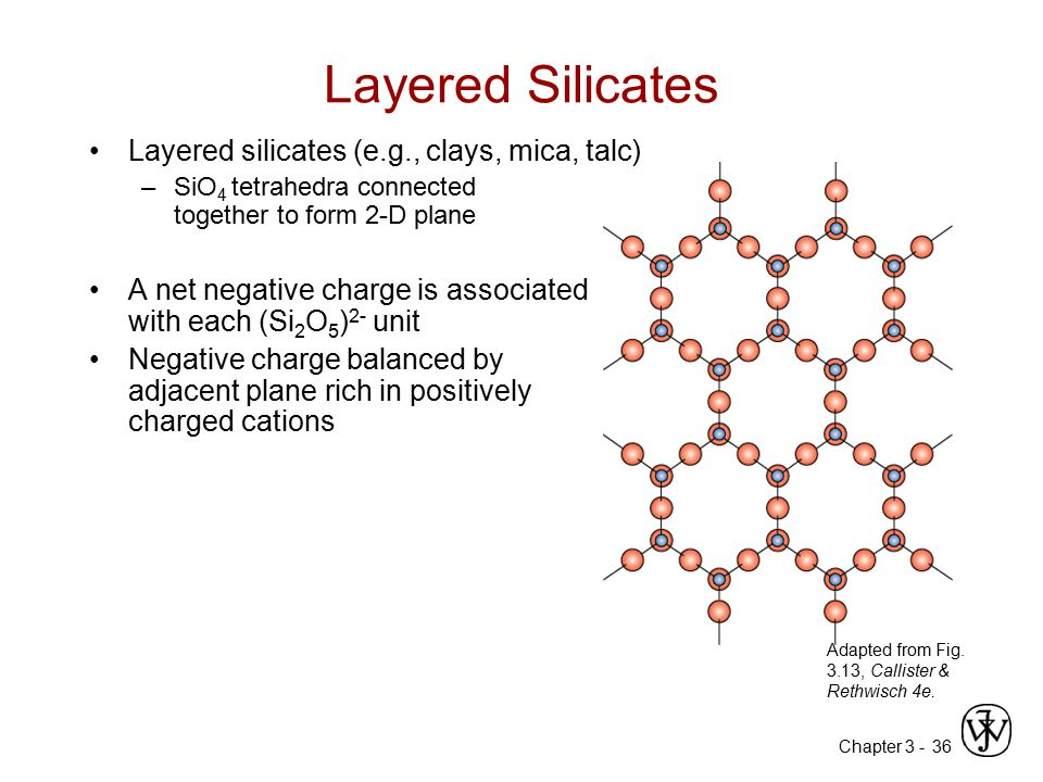 Chapter 3 -36 Layered Silicates Layered silicates (e.g., clays, mica, talc) –SiO 4 tetrahedra connected together to form 2-D plane A net negative char