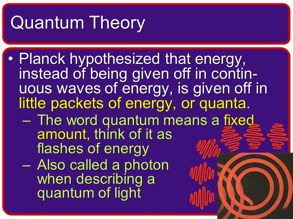Planck hypothesized that energy, instead of being given off in contin- uous waves of energy, is given off in little packets of energy, or quanta.