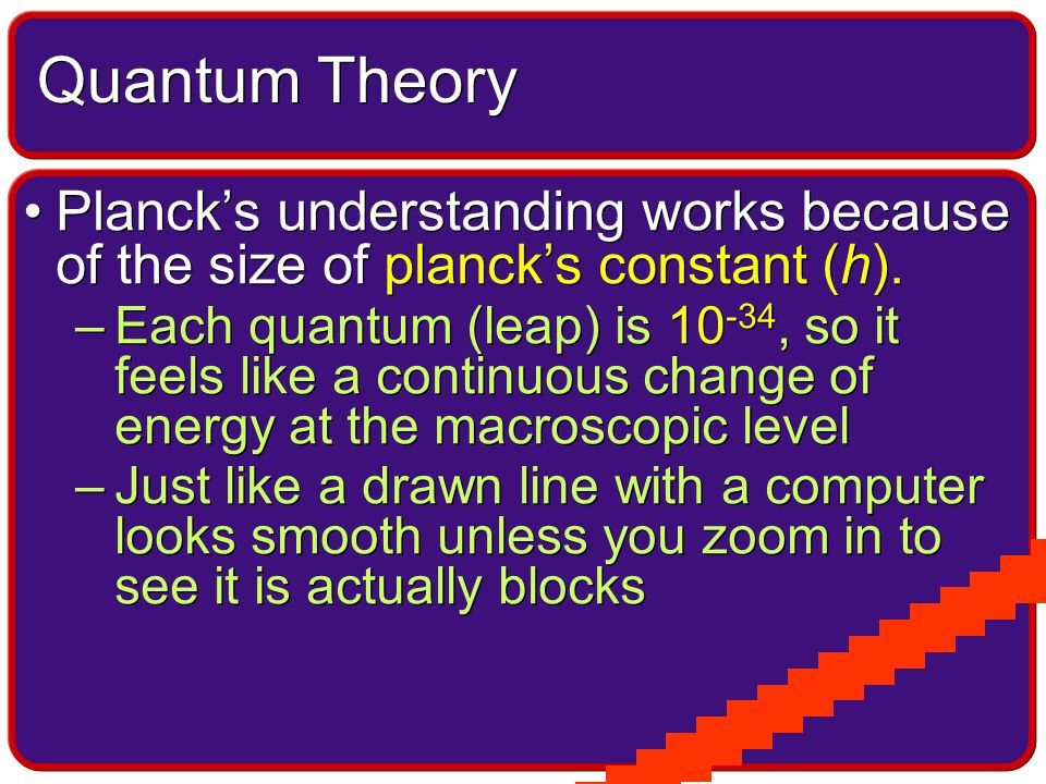 Planck's understanding works because of the size of planck's constant (h).
