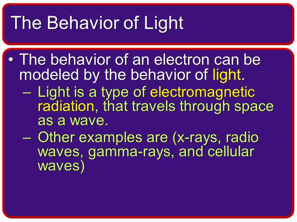 The behavior of an electron can be modeled by the behavior of light.