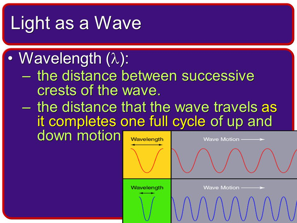 Wavelength ( ): –the distance between successive crests of the wave.