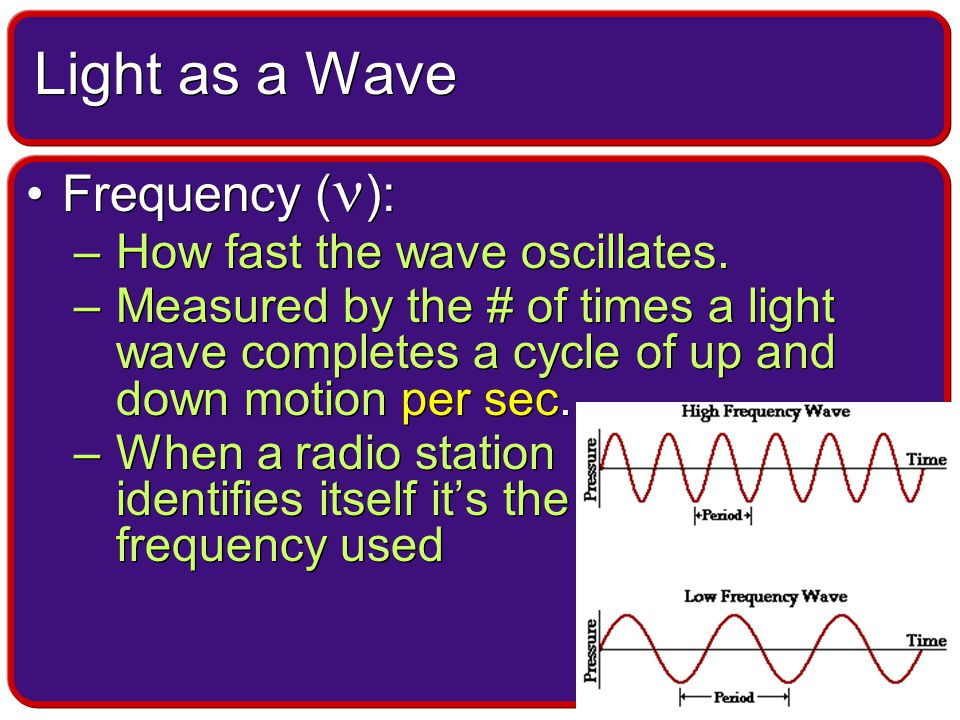 Speed ( c ): –Regardless of its wavelength, moves through space as a constant speed 3.00x10 8 m/s –Because light moves at a constant speed there is a relationship between frequency and wavelength Speed ( c ): –Regardless of its wavelength, moves through space as a constant speed 3.00x10 8 m/s –Because light moves at a constant speed there is a relationship between frequency and wavelength Light as a Wave