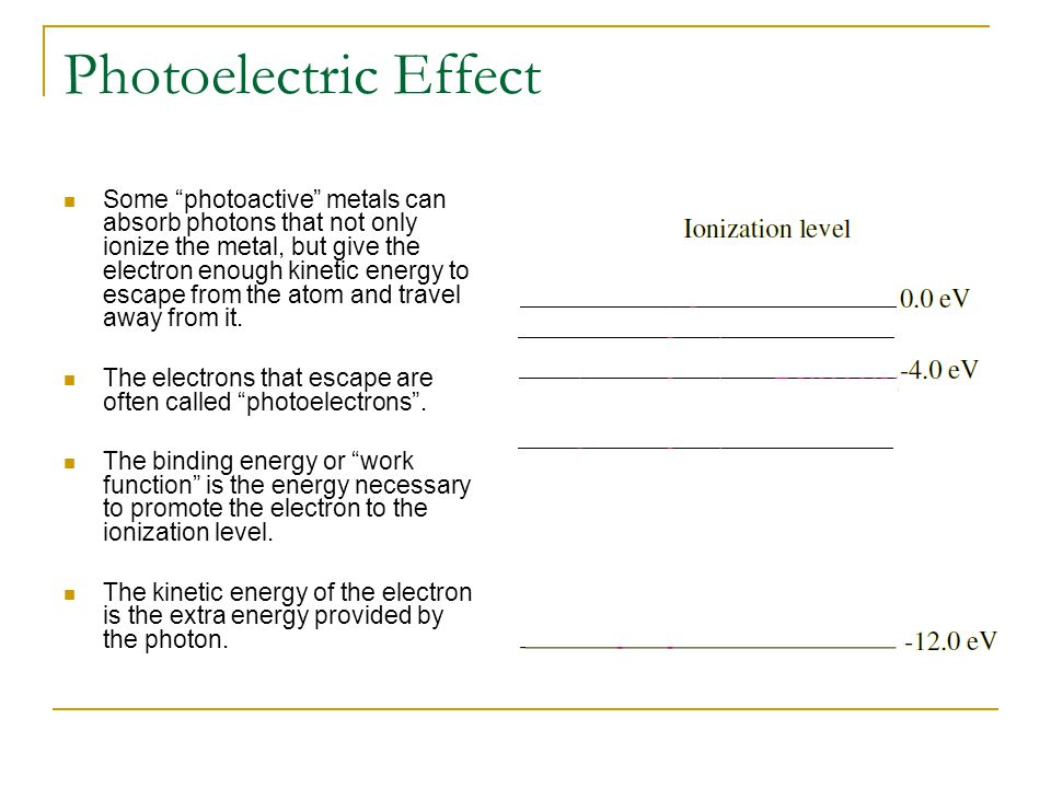 Photoelectric Effect Some photoactive metals can absorb photons that not only ionize the metal, but give the electron enough kinetic energy to escape from the atom and travel away from it.