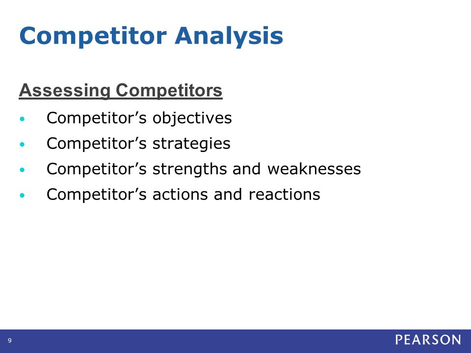 Assessing Competitors Competitor's objectives Competitor's strategies Competitor's strengths and weaknesses Competitor's actions and reactions 9 Compe