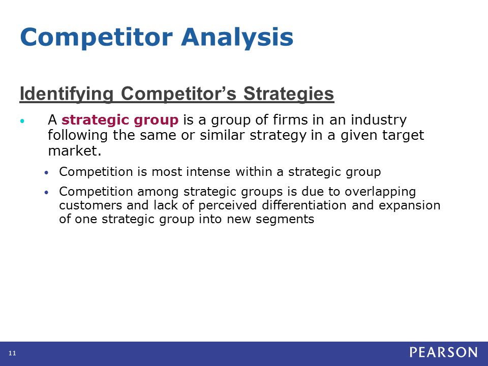 Identifying Competitor's Strategies A strategic group is a group of firms in an industry following the same or similar strategy in a given target mark