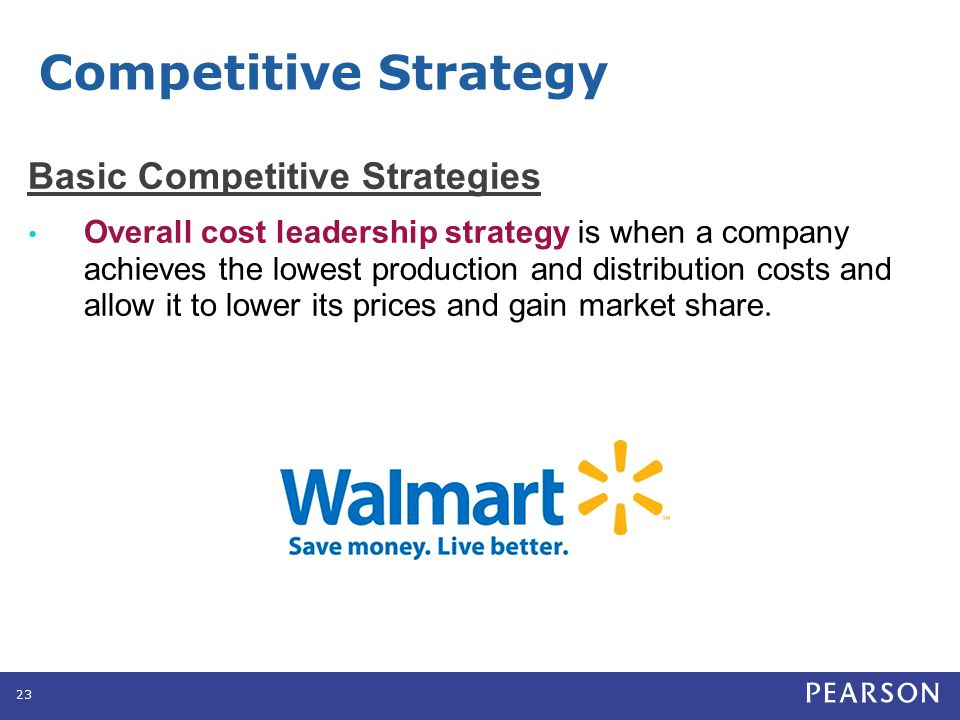 Basic Competitive Strategies Overall cost leadership strategy is when a company achieves the lowest production and distribution costs and allow it to