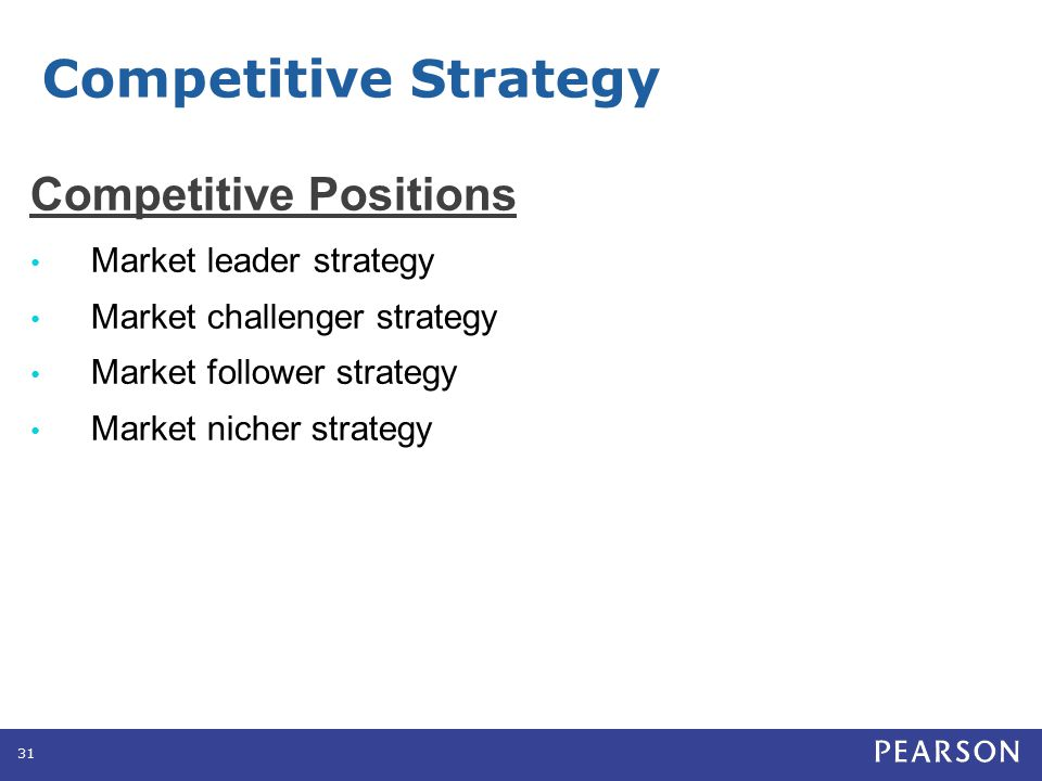 Competitive Positions Market leader strategy Market challenger strategy Market follower strategy Market nicher strategy 31 Competitive Strategy