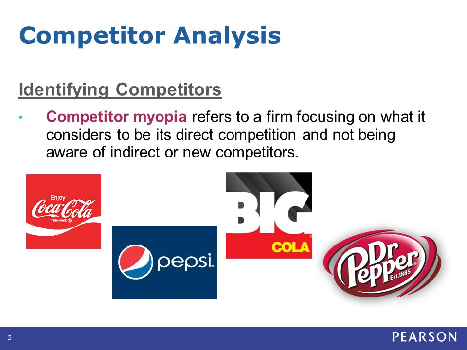 Identifying Competitors Competitor myopia refers to a firm focusing on what it considers to be its direct competition and not being aware of indirect
