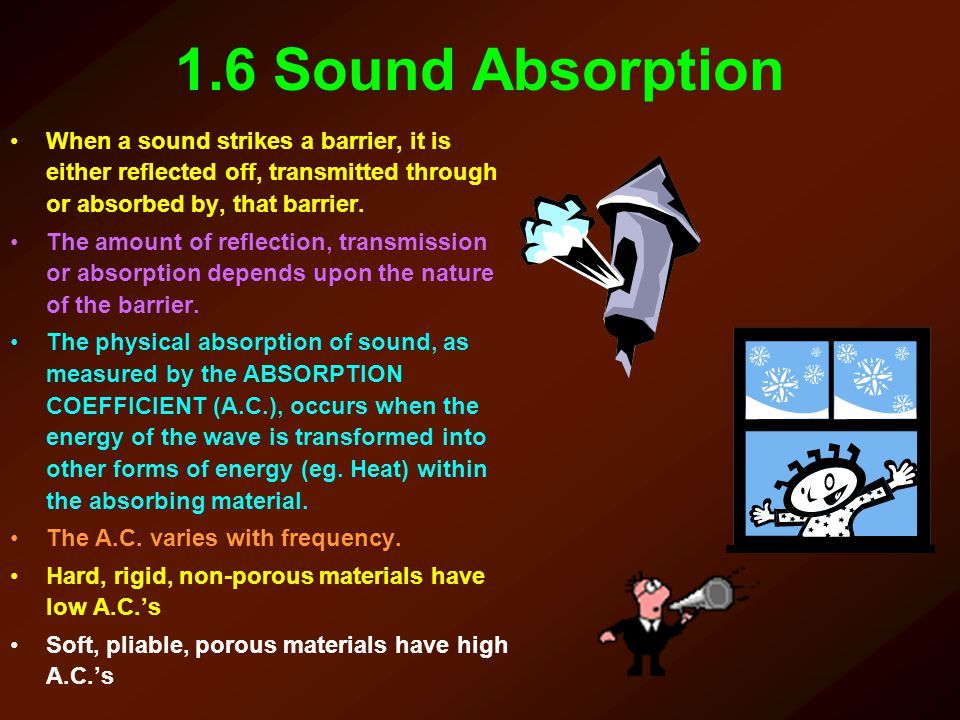 1.6 Sound Absorption When a sound strikes a barrier, it is either reflected off, transmitted through or absorbed by, that barrier. The amount of refle