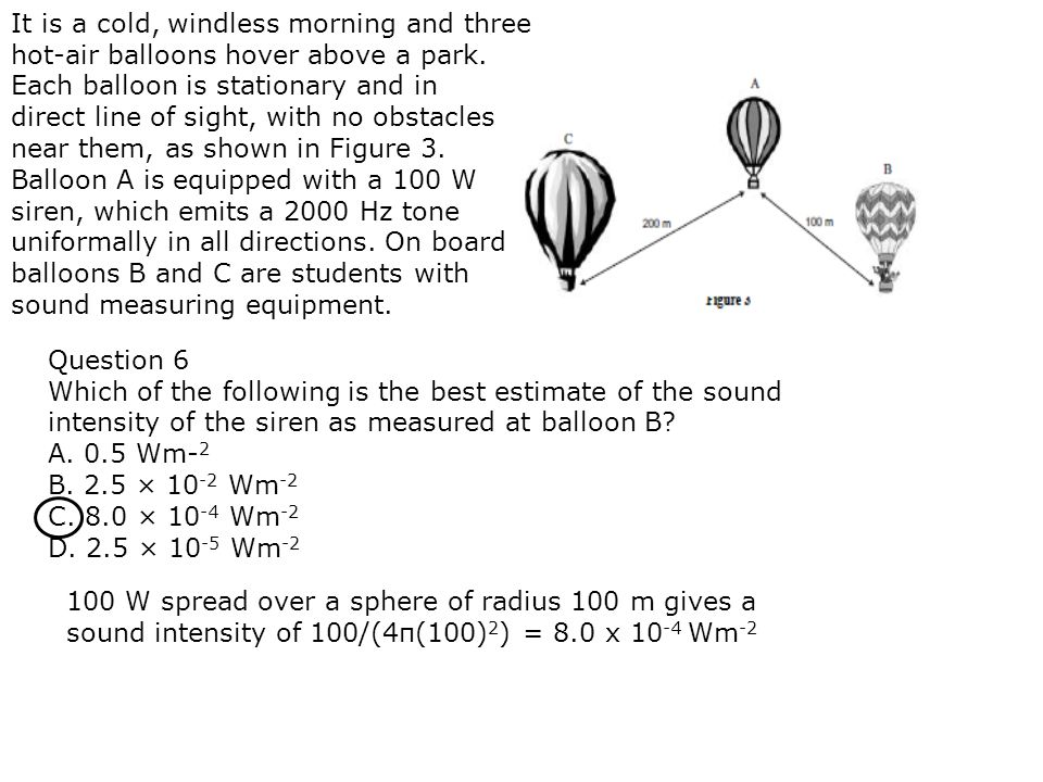 It is a cold, windless morning and three hot-air balloons hover above a park. Each balloon is stationary and in direct line of sight, with no obstacle