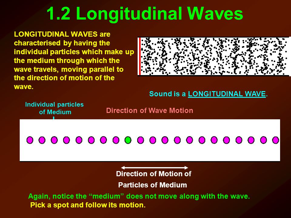 1.2 Longitudinal Waves LONGITUDINAL WAVES are characterised by having the individual particles which make up the medium through which the wave travels