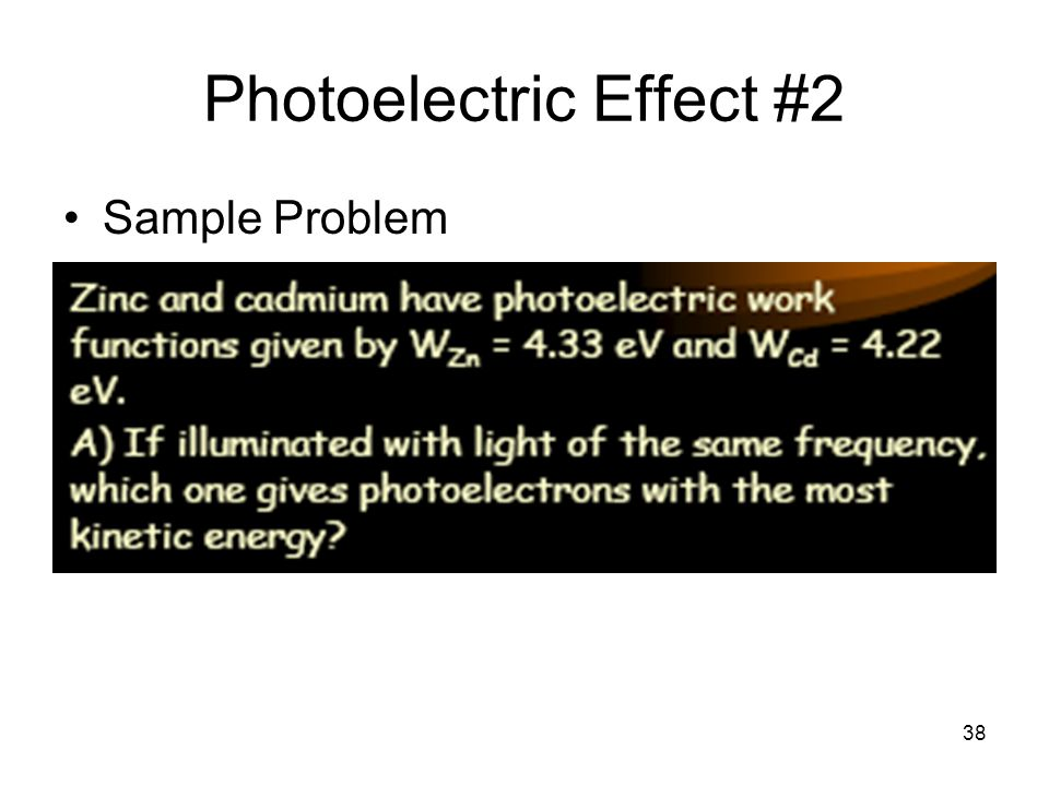 38 Photoelectric Effect #2 Sample Problem