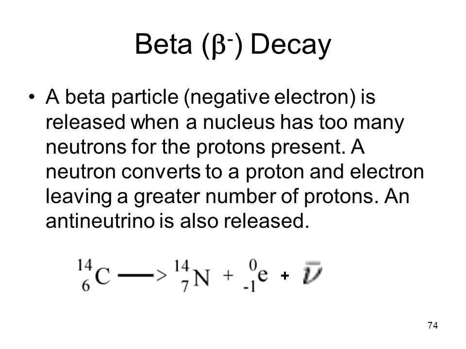 74 Beta (  - ) Decay A beta particle (negative electron) is released when a nucleus has too many neutrons for the protons present.