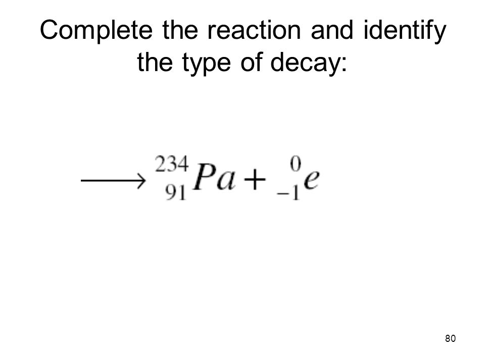 80 Complete the reaction and identify the type of decay: