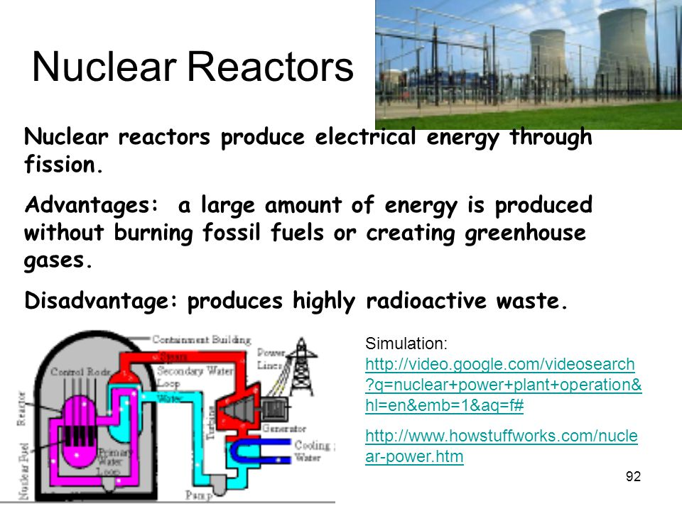 92 Nuclear Reactors Nuclear reactors produce electrical energy through fission. Advantages: a large amount of energy is produced without burning fossi