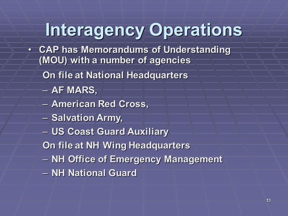 13 Interagency Operations CAP has Memorandums of Understanding (MOU) with a number of agenciesCAP has Memorandums of Understanding (MOU) with a number