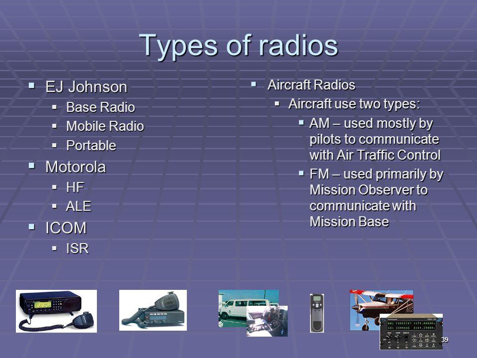 Types of radios  EJ Johnson  Base Radio  Mobile Radio  Portable  Motorola  HF  ALE  ICOM  ISR  Aircraft Radios  Aircraft use two types:  A