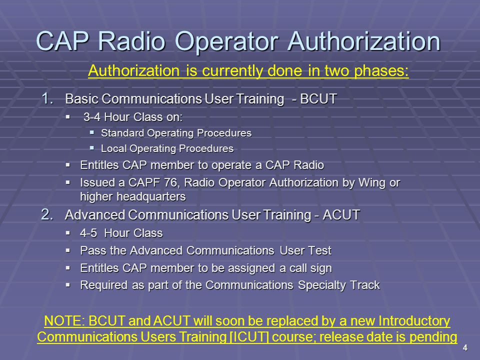 CAP VHF Radio Frequencies  CAP Frequencies are FOUO  Thus, CAP radios are programmed to display the specific designator for each programmed channel, for example Designator:Function/Usage:  CC-1 Command/Control 1  CC-2 Command/Control 2  AIR-1 Air/Ground 1  AIR-2 Air Ops 2  CAPGUARDCalling Channel  TAC-1 Tactical 1  When communicating, use designators, not a channel number – ex.