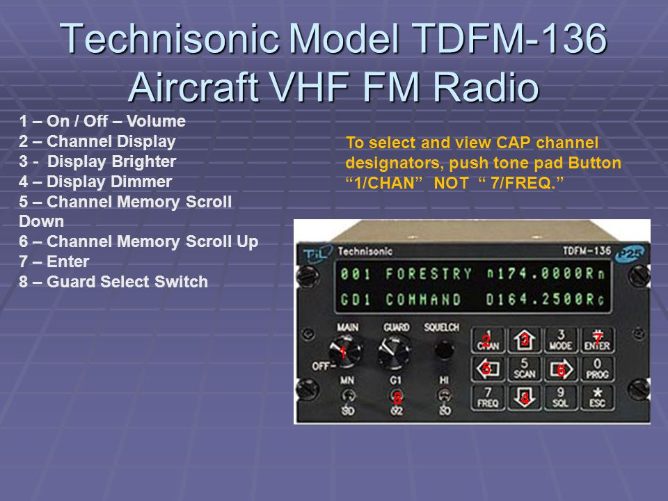 """Technisonic Model TDFM-136 Aircraft VHF FM Radio To select and view CAP channel designators, push tone pad Button """"1/CHAN"""" NOT """" 7/FREQ."""" 1 – On / Off"""