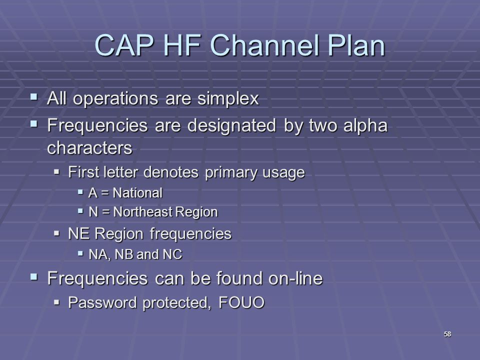 CAP HF Channel Plan  All operations are simplex  Frequencies are designated by two alpha characters  First letter denotes primary usage  A = Natio
