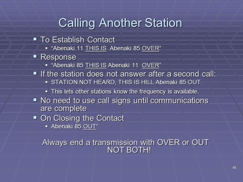 """Calling Another Station  To Establish Contact  """"Abenaki 11 THIS IS Abenaki 85 OVER""""  Response  """"Abenaki 85 THIS IS Abenaki 11 OVER""""  If the stati"""